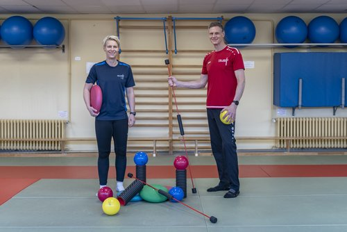 University Sports team with training equipment