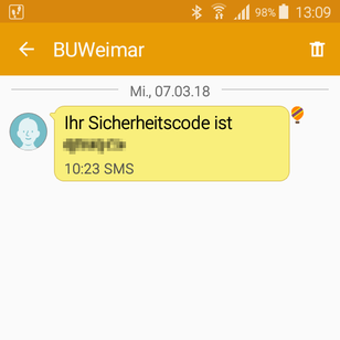 Screenshot of a sample SMS