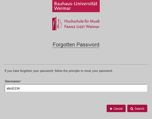 Password forgotten: Enter username