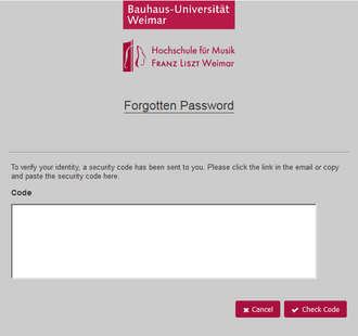 Password forgotten: Enter and check security code