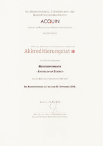 Akkreditierungsurkunden Medieninformatik und Computer Science and Media