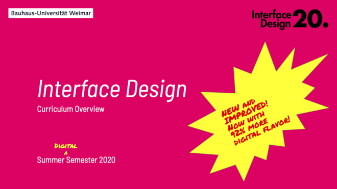 Interface Design Curriculum Overview Summer Semester 2020
