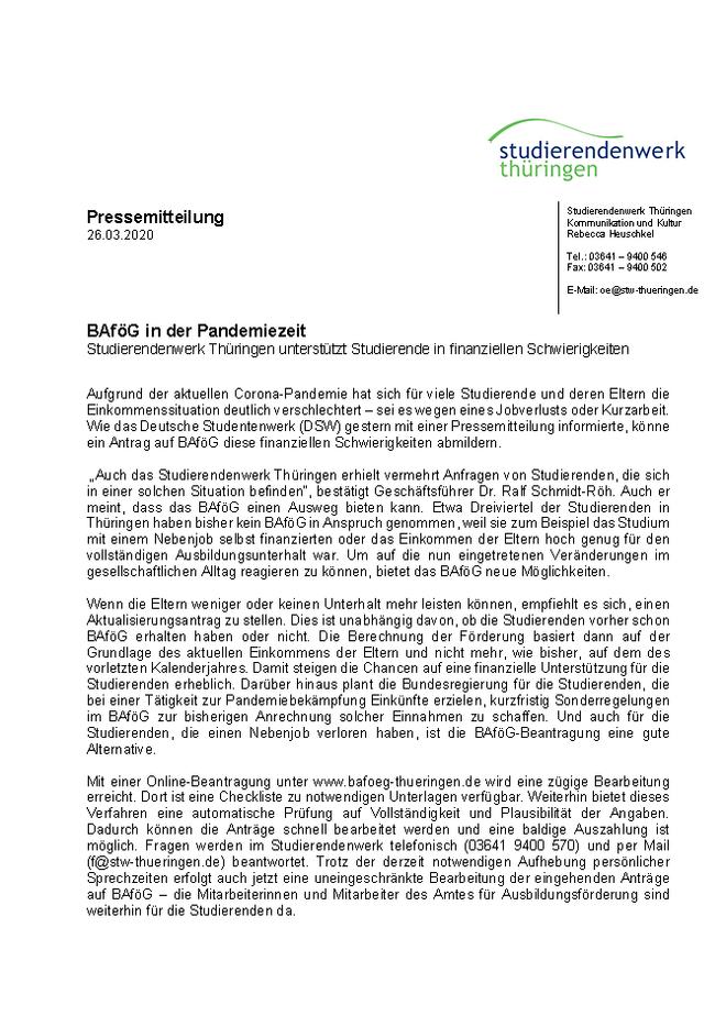 Bauhaus Universitat Weimar Information Regarding Coronavirus
