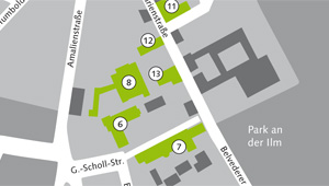 Map of the buildings of the Faculty of Art and Design