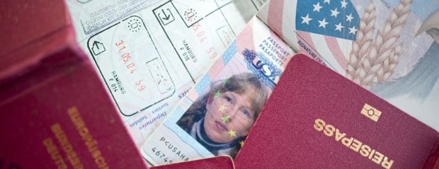 Picture section of passport and visa.