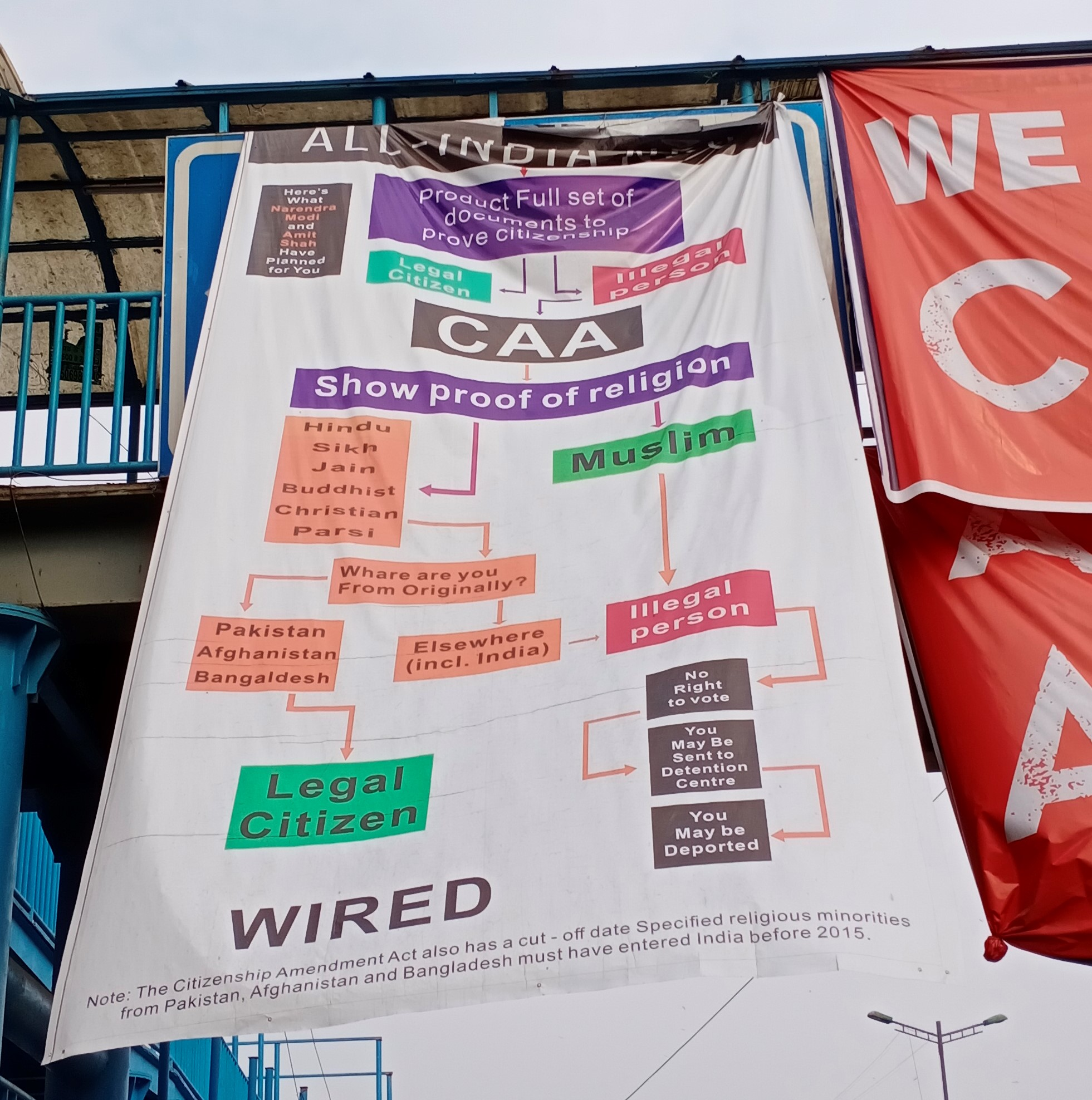 A poster trying to depict the CAA process at Shaheen Bagh protests, New Delhi.