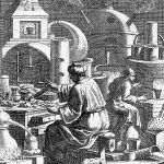 Two alchemists seeming to produce gold from a furnace; the accompanying text satirises those who pursue alchemy for gold alone. Engraving by C. Weigel, 1698.