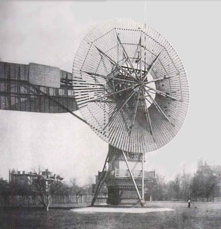 The first automatically operated wind turbine, built in Cleveland in 1887 by Charles F. Brush. It was 60 feet (18 m) tall, weighed 4 tons (3.6 metric tonnes) and powered a 12 kW generator.