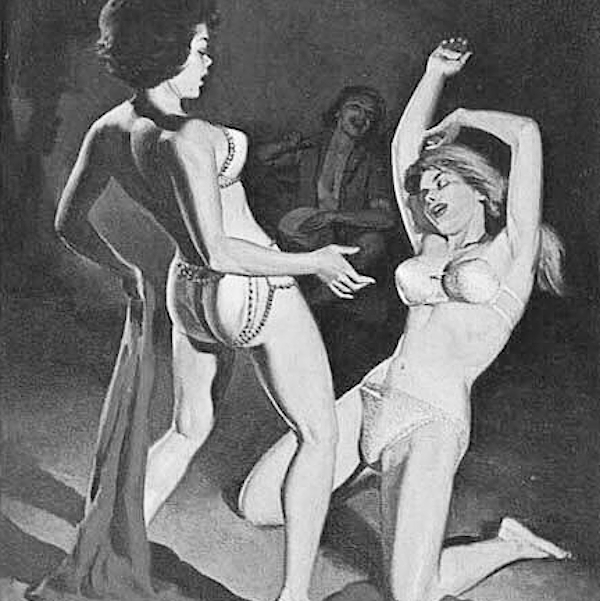 Cover of Flying Lesbian (1963) by Del Britt (illustration by Fred Fixler).