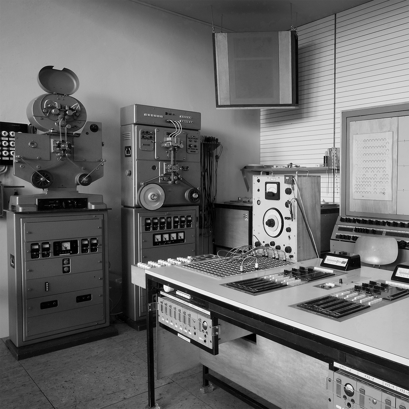 Details of a Siemens electronic music recording studio, 1955.