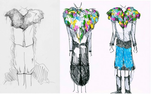 variation of the coat (more clothing, the coat becomes more a cape)