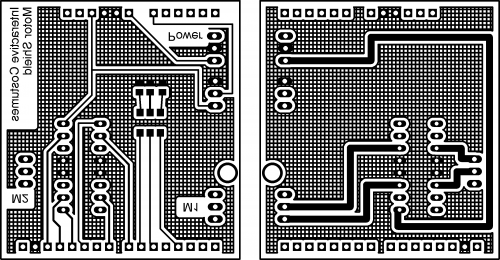 Board Layout; left: Top Layer (mirrored); right: Bottom layer