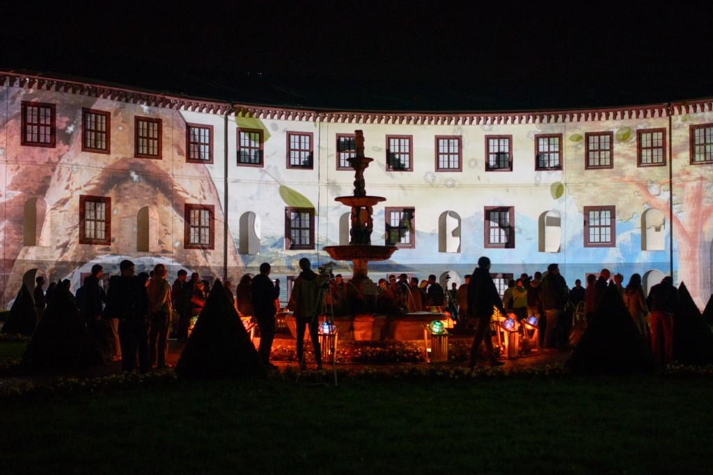 23.08.2014 - Fassadenprojektion «Georg II. - Die mysteriöse Theatermaschine» am Schloss Elisabethenburg in Meiningen. Foto: Candy Welz